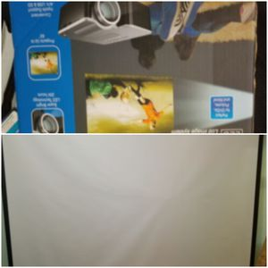 91 inch projection screen with led 1080p projector for Sale in Millmont, PA