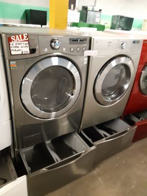 LG FRONT LOAD WASHER AND GAS DRYER SET WITH PEDESTAL IN EXCELLENT CONDITION WORKING PERFECTLY $599.00 for Sale in Baltimore, MD