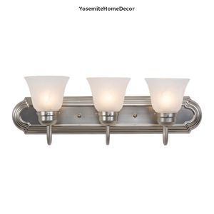 Yosemite Home Decor Vanity Lighting Family 3-Light Satin Nickel Frame Bathroom Vanity Light with Alabaster Glass Shade for Sale in Dallas, TX