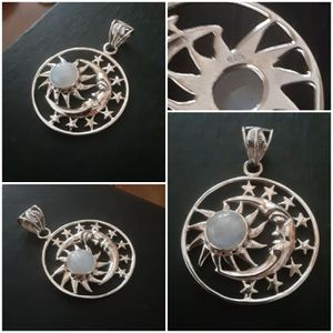 92.5 Sterling Silver Rainbow Moonstone Crescent Moon, Stars and Sun Pendant for Sale in Pawtucket, RI