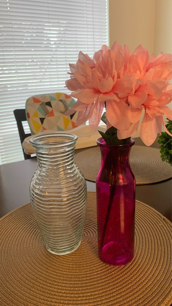 Flower vase with fake flowers