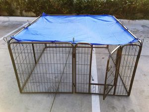 Brand new 32 inch tall x 32 inches wide each panel x 8 panels heavy duty exercise playpen with sun shade tarp cover fence safety gate dog cage crate for Sale in Los Angeles, CA