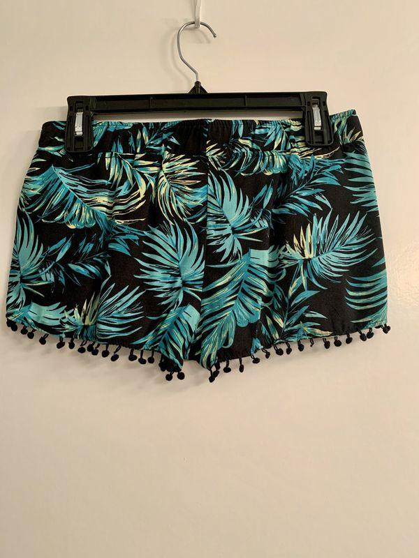 Miken Women's Pom-Pom Trim Palm Print Swim Cover Shorts (S, Black/Green)