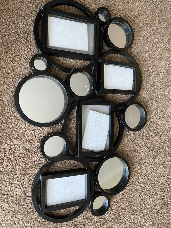 Black decorative picture frame with mirrors