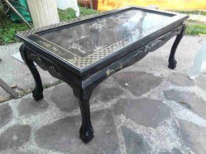 Solid wood coffee table hand-painted antique asking for it for Sale in Houston, TX