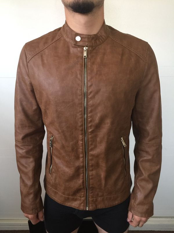 Men S Brown Medium Leather Jacket By Zara Man For Sale In City Of