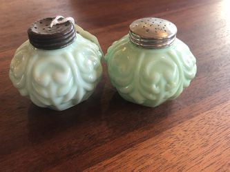 Vintage Green Milk Glass Salt And Pepper Shakers for Sale in Pleasant Valley,  NY