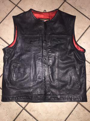 Men's black genuine leather 10 pockets motorcycle biker vest size 58. ( XXL ) for Sale in Norwalk, CA