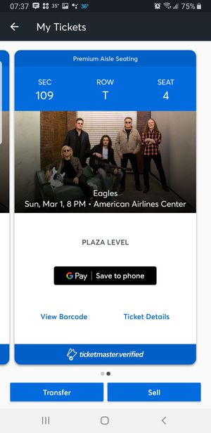 Eagles tickets - March 1st at American Airlines Center for Sale in WHT SETTLEMT, TX