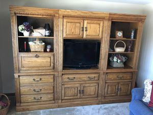 Wall Unit 3 Piece Oak TV Stand Storage Shelves Display Entertainment Center Lighted for Sale in Woonsocket, RI