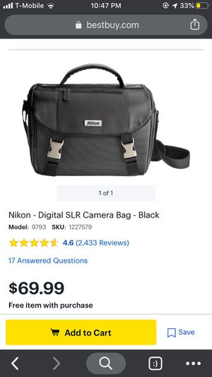 Nikon - Digital SLR Camera Bag - Black for Sale in Seattle, WA