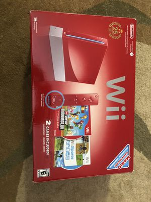 Wii with 2 games (Super Mario, Wii Sports), 2 controllers for Sale in Chicago, IL