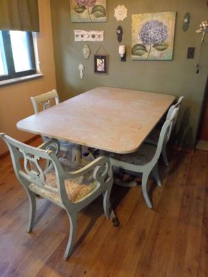 Chalk painted Dining Table with Lacey overlay look. (Table Only) for Sale in Freeburg, IL