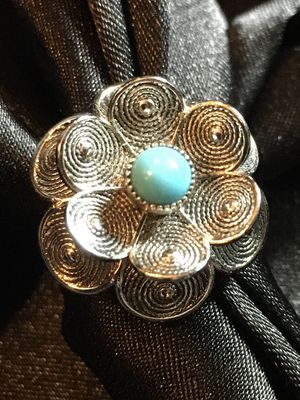 Vintage 1950s Silver Flower Cocktail Ring by Sarah Coventry Adjustable for Sale in Raymore, MO