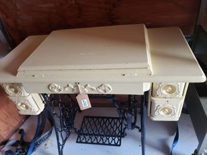 Antique yellow sewing cabinet for Sale in Wilsonville, OR