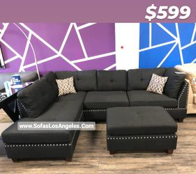 REAL SHOWROOM 😁 WE FINANCE - BLACK L SHAPE REVERSIBLE CHAISE COUCH SOFA SECTIONAL WITH OTTOMAN COUCHES for Sale in Los Angeles,  CA