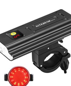 New in box 5LED USB-C Rechargeable Bike Headlight with Digital Display Screen, Super Bright Headlight Front Lights and Back Rear LED Light Set for Roa for Sale in Katy,  TX