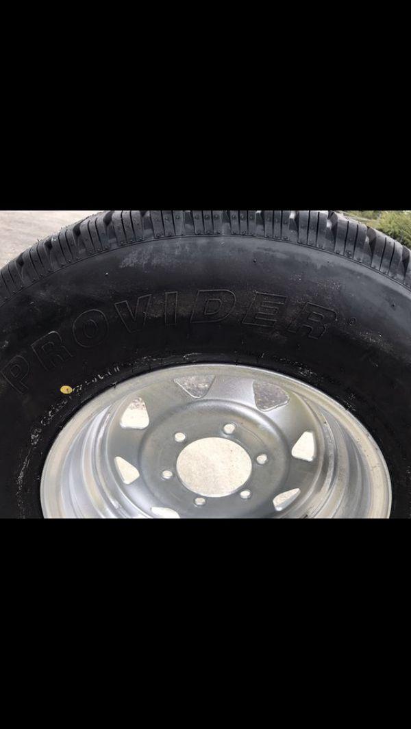 225-75-15inch radial E-load trailer tires on 6-lug rims. $120/each