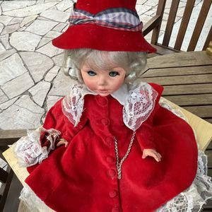 Vintage Victoria Doll In Red Velvet Dress With Hat for Sale in Los Angeles, CA