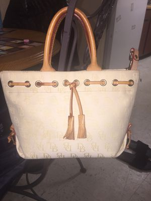 dooney-and-bourke-bag-small-tulip-tassel-taupe-and-brown-canvas-leather-tote for Sale in New Haven, CT