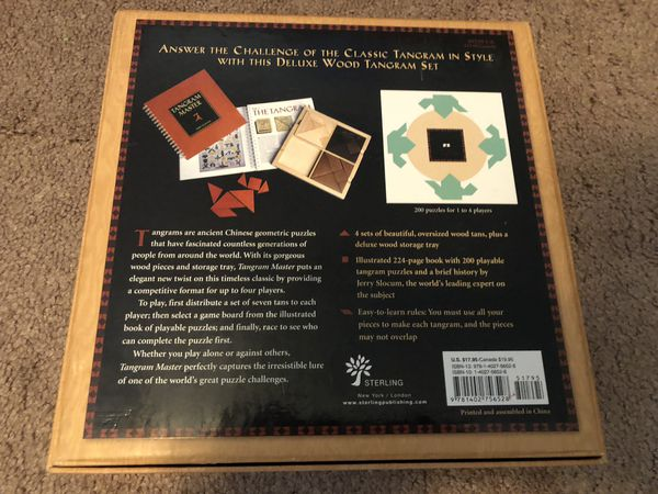 Tangram Master 200 Puzzles for 4 Players (Sterling Published Edition)-Retired VERY Hard to find-Games/Brain Teasers/Challenging/Geometric Gaming
