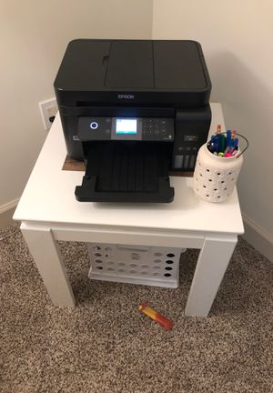 White and wood end table: printer desk for Sale in Fort Lauderdale, FL
