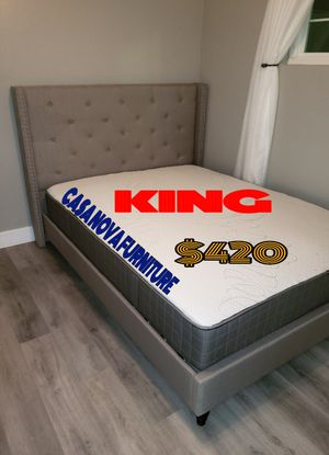 BRAND NEW BED FRAME KING COMES IN BOX 📢📢📢📢📢MATTRESS INCLUDED for Sale in Compton, CA