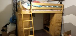 Excellent condition twin loft bed with desk and bookshelf for Sale in Tempe, AZ