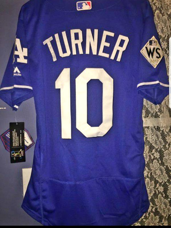release date: 22598 7501d BRAND NEW Dodgers Blue Justin Turner Baseball Jersey WORLD SERIES PATCH  Everything Stitched for Sale in West Covina, CA - OfferUp