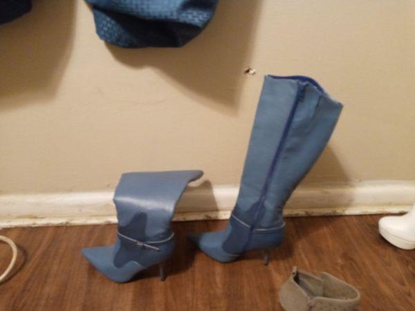 Women's blue Alligator skin knee high boots