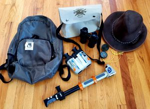 Indiana Jones leather hat, satchel, junior ranger back pack and spy toys for Sale in Vista, CA