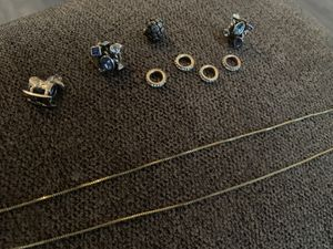Pandora charms and spacers. And 14 k gold thin snake chain for Sale in Peabody, MA