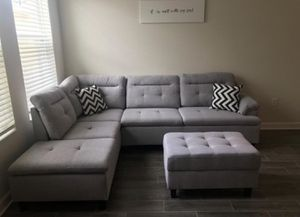 Brand New Grey Linen Sectional Sofa Couch + Storage Ottoman for Sale in Silver Spring, MD