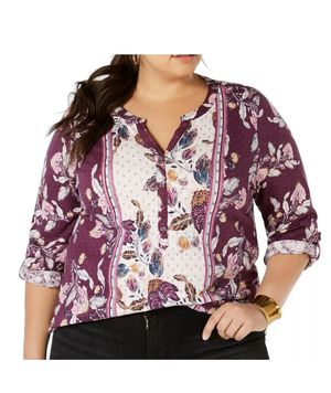 Style&co. Women's Plus Violet Split Neck Tab Sleeve Top Size 2X NWT RV $49.50 for Sale in Palo Alto, CA