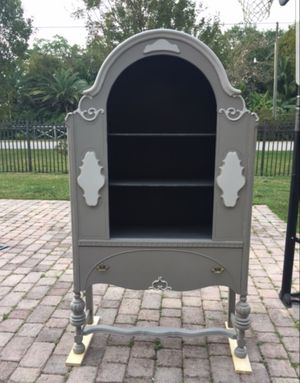 1920/1930s refinished in two tones grey antique china cabinet for Sale in Miami, FL