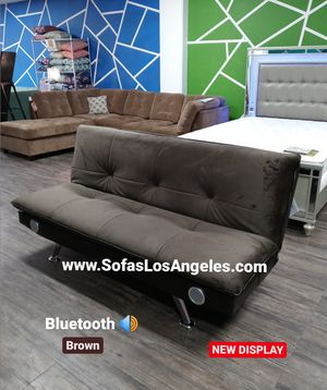 Dark Brown Pillow Top Couch Sofa Futon With Bluetooth Speakers for Sale in Los Angeles, CA