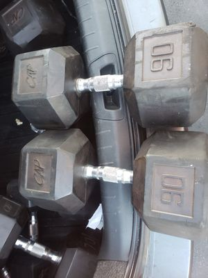 90lb Rubber Coated Dumbbells for Sale in Lakewood, CA
