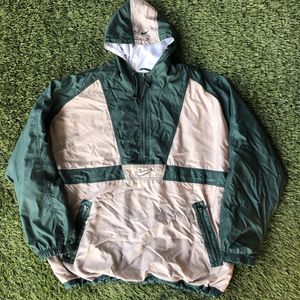 90s NIKE AIR Center Big Swoosh Vintage Parka Windbreaker Jacket Pullover 1/2 Zip Up Jacket Green Gray for Sale in San Diego, CA