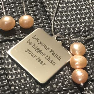 Handmade Stainless Steel Natural Pink Pearl Jewelry Set for Sale in Addison, IL