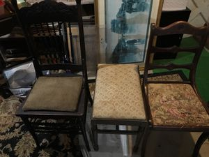 2 antique chairs and foot stoole for Sale in Pittsburgh, PA