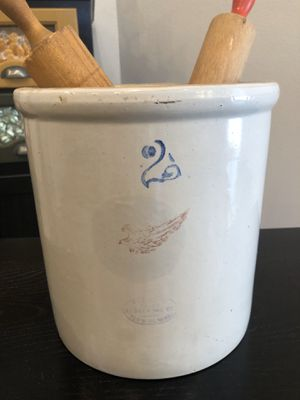 Red Wing #2 gallon crock with 2 antique wooden rolling pins. for Sale in Lubbock, TX