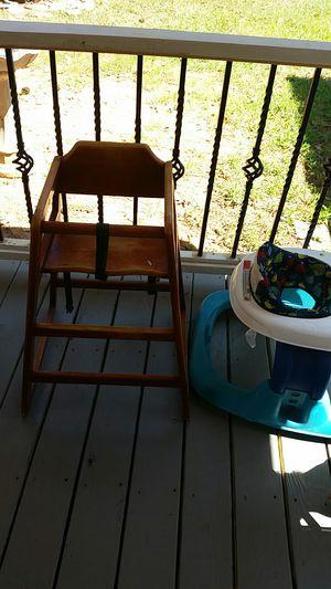 Kids high chair 5 dollars walker 5 dollars rocking horse 3 dollars chr I stmas ornaments with siver skirt new 7 dollars for Sale in Jonesboro, GA
