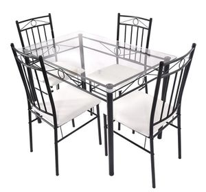 Costway 5 Piece Dining Set Glass Metal Table and 4 Chairs Kitchen Breakfast Furniture for Sale in Bakersfield, CA