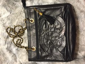 Vintage CHANEL Black Leather Quilted Tote Bag for Sale in Cleveland, OH