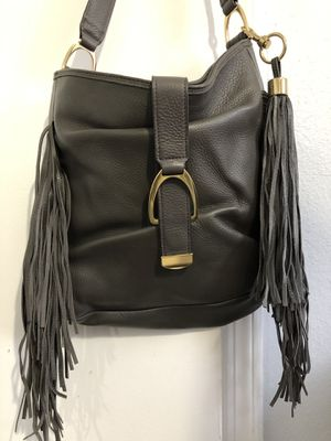 G.i.l.i gray leather hobo bag purse with fringe NICE!! for Sale in Pinellas Park, FL