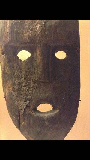 Vintage Tribal Mask Handmade by a Tribe in Timor, Indonesia-- Imperfect Dirty Mask- Potential Tribal Warfare Mask! for Sale in Oakton, VA