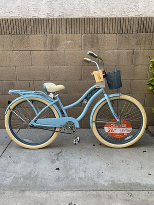 "BLUE NEW LADIES 26"" CLASSIC SINGLE SPEED BEACH CRUISER WITH REAR CARRIER / FRONT BASKET / CUP & PHONE HOLDER BEAUTIFUL BIKE ALL AROUND 😍 for Sale in La Mirada, CA"