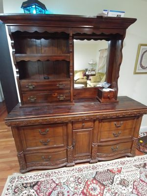 Hutch entry cabinet breakfront wall unit storage cabinet buffet sideboard dresser bureau chest Gavetero gavetas armoire cabinet sears heritage for Sale in Hollywood, FL