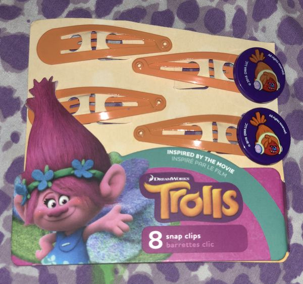 Brand New Trolls Snap Hair Clips
