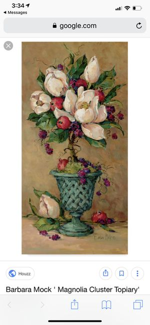 Barbara Mock Magnolia Cluster Topiary Painting for Sale in Charlotte, NC